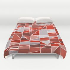 Red and grey Duvet Cover