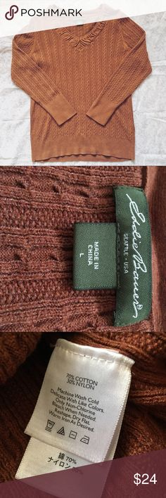 Eddie Bauer • Cable Knit Ruched V Neck Sweater Gorgeous v-neck sweater in a rusty brown color! You might mistake it for new! Has cable knit and ruched details. Size Large, cotton and nylon blend. Eddie Bauer Sweaters V-Necks