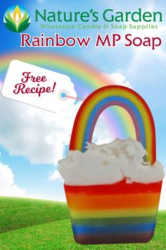 Free Rainbow Melt and Pour Soap Recipe by Natures Garden