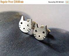SALE Cat stud earrings Sterling silver kitty post by Mirma on Etsy