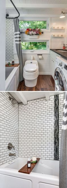 Alpha by New Frontier Tiny Homes - Tiny Living The Alpha tiny house bathroom includes a full size tub/shower combo with subway tile, a composting toilet, and a washer/dryer combo. Alpha Tiny House, Best Tiny House, Full House, Small Shower Remodel, Tiny House Bathroom, Tiny House Shower, Tiny Bathrooms, Shower Tub, Bath Tub