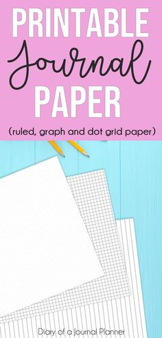 Printable Journal Paper (Free dot grid, graph and ruled paper! Bullet Journal Lined Paper, Bullet Journal Lines, Graph Paper Journal, Journal Template, Journal Stickers, Bullet Journal Layout, Journal Pages, Journal Ideas, Journal Inspiration