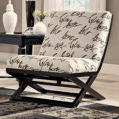 Levon - Charcoal Armless Showood Accent Chair With Abstract Script Fabric By…