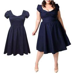 Plus Size Women Vintage Retro 50S Style Rockabilly Evening Party Swing Dresses