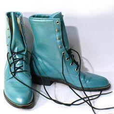 Vintage JUSTIN Grunge Combat Boots Blue by VtgSewingPatterns