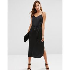 ASOS Midi Slip Dress in Satin with Tie Waist (3.190 RUB) ❤ liked on Polyvore featuring dresses, black, asos, calf length dresses, midi slip dress, sweetheart dress and camisole slip dress