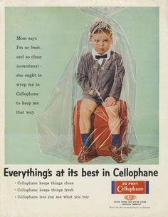 Funny Vintage Magazine Ad 1956 Du Pont Cellophane Print Advertisement Kid Wrapped Up Plastic Weird Wall Art Decor