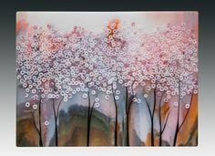"""""""Cherry Tree Abstract"""" -- Fused Glass Landscape"""