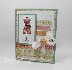 A Pretty Dress Form Card made using The Rubber Cafe' March Creative Kit of the Month!
