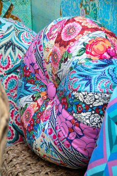 Amy Butler's Hapi fabrics, pattern from Amy Butler's Honey Bun Poufs