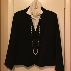 Black professional blazer Listing is for one black blazer only. This is a fully lined gabardine blazer that will dress up any outfit! Rafaella Jackets & Coats Blazers