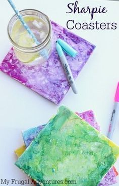 Sharpie Dyed Tile Coasters- fun and easy children's craft project. This makes a very fun gift!