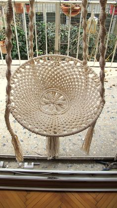 Macramé Swing Chair, Terrace Hammock, Outdoor Chair, Bedroom Swing - picture for you Macrame Hanging Chair, Macrame Chairs, Bedroom Swing, Bedroom Chair, Outdoor Bedroom, Crochet Hammock, Hammock Swing, Macrame Design, Swinging Chair