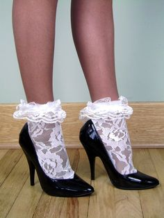 $2.79 - Lace Anklets W/ Ruffled Lace Cuffs - White #ebay #Fashion
