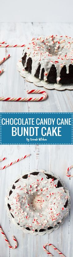 A cake packed with rich, peppermint-flavoured chocolate plus a mint glaze and candy canes to garnish. | http://crumbkitchen.com