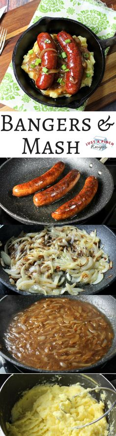 This homemade authentic bangers and mash is easy to make and ready in just 60 minutes! The sausages are juicy and the potatoes are buttery and creamy. patricks day food keto Bangers and Mash Pork Recipes, Cooking Recipes, English Food Recipes, Recipies, Cooking Tips, Healthy Recipes, Scottish Recipes, Easy Irish Recipes, Good Food