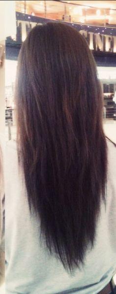 Slight v cut long brown hair