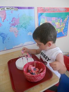 Flags placed into styrofoam, fun fine motor activity! - - Re-pinned by @PediaStaff – Please Visit http://ht.ly/63sNt for all our pediatric therapy pins
