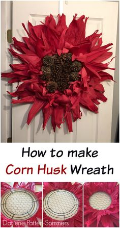 There are so many different ways to make a wreaths. Here are 20 creative wreath ideas that will blow your mind - you really do have to see to believe! Corn Husk Crafts, Pine Cone Crafts, Wreath Crafts, Diy Wreath, Wreath Ideas, Tulle Wreath, Burlap Wreaths, Fall Wreaths, Mesh Wreaths