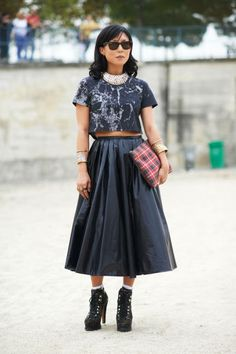 Blue Skirt with Matching Tie Dye Cropped Shirt with Plaid Purse