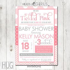 Set of 12 Personalized Tickled Pink Baby Shower Invitations in Shades of Pink and Gray by HeadsUpGirls, $18.00