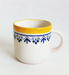 Bottle Painting, Ceramic Design, Handmade Pottery, Blue Yellow, Cocoa, Folk, Candle, Hand Painted, Shapes