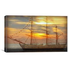 Canvas print of this is a digital image created by myself of a ghostly looking tallship at sunset,the sunset image is my own taken at crosby beach ,the ship is a free image overlayed on my photo Crosby Beach, Sunset Images, Ghost Ship, Digital Image, Art For Sale, Free Images, My Photos, Art Pieces, Canvas Prints
