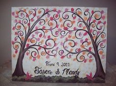 New wedding guest book canvas canvases fingerprint tree ideas Thumbprint Guest Books, Thumbprint Tree, Watercolor Wedding Invitations, Diy Invitations, Trendy Wedding, Dream Wedding, Fingerprint Tree, Wedding Guest Book Alternatives, Diy Canvas