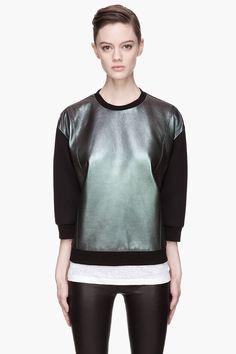NEIL BARRETT Black and purple Iridescent Leather sweatshirt
