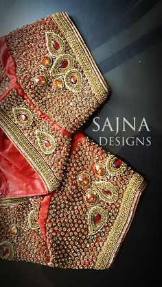 #stoneandsequinswork #beadsembroidery #zardosiembroidery #orangesilksaree #shortsleeveblouse #sajnadesigns #sajnabridalweardesigner #receptionblouse #weddingblouse #bridalblouse #indianwedding #indianbride #bride #wedding #silksareeblouse #designerblouses Wedding Saree Blouse Designs, Silk Saree Blouse Designs, South Indian Blouse Designs, Saree Tassels Designs, Mirror Work Blouse, Maggam Work Designs, Zard, Bridal Silk Saree, Designer Blouse Patterns