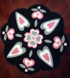19 COUNTRY HEARTS WoolFelt Penny RugCandle Mat by JennysToleShed, $49.00