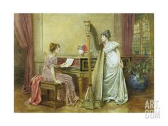 Giclee Print: The Rehearsal Wall Art by George Goodwin Kilburne by George Goodwin Kilburne : Victorian Art, Oil Painting Reproductions, Canvas Prints, Art Prints, Woman Painting, Art Music, Artist Art, Find Art, Framed Artwork