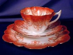 Cameo pattern #9331 trio in the Snowdrop shape. (from the Wileman Foley period, company name changed to Shelley in 1925.)