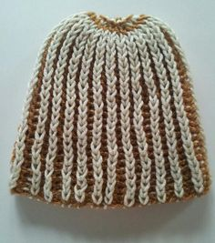 Strechable Brown and Ivory Unisex Knitted Hat by LaBufandaLLC