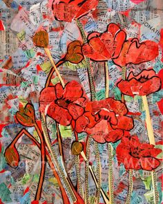 mixed media red poppies