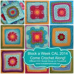 Block a Week CAL 2014 Come Crochet Along shows pictures of each of the 40+ squares with links to patterns