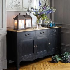 French Country ~ Decor Kitchen or Dining Room Buffet Sideboard Modern, Dining Room Sideboard, Wood Sideboard, French Decor, French Country Decorating, French Country House, Country Living, Country Style, Affordable Furniture