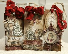 Anne's paper fun: Pakkelapper vintage distressed altered Christmas holiday Santa red st nick tag tim Holtz inspired god