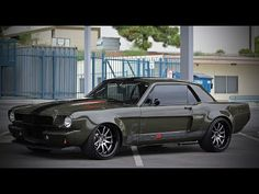 Outrageous appearance, fuel injected engine and tons of performance upgrades this Army Green 1966 Mustang is one tough street soldier. Check out the video! Green Mustang, Ford Mustang Fastback, Mustang Cars, Custom Muscle Cars, Classic Mustang, Old School Cars, Hot Cars, Army Green, Dream Cars