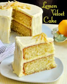 Lemon Velvet Cake - homemade, light textured, and great lemon flavour! Developed from an outstanding Red Velvet Cake recipe, this Lemon Velvet Cake is so moist & tender with a lemony buttercream frosting. A lemon lovers dream. Lemon Desserts, Lemon Recipes, Just Desserts, Sweet Recipes, Dessert Recipes, Rock Recipes, Lemon Cakes, Delicious Recipes, Lemon Sponge Cake