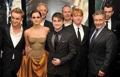 """(L-R) Tom Felton, Emma Watson, Alan Rickman, Daniel Radcliffe, David Yates, Rupert Grint, Barry M. Meyer and Matthew Lewis attend the New York premiere of """"Harry Potter And The Deathly Hallows: Part 2"""" at Avery Fisher Hall, Lincoln Center on July 11, 2011 in New York City."""