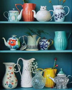 """""""Sip + see / if you have treasured teapots and pitchers at home, let them see the light of day! We love to arrange them on open shelves like an ever-…"""""""