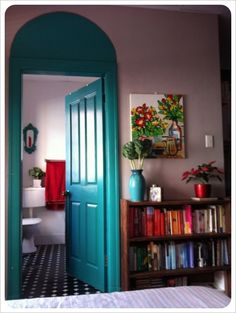 Painted door inside the house. so pretty.