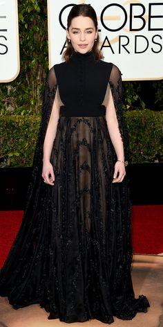2016 Golden Globes Red Carpet Arrivals - Emilia Clarke - from InStyle.com