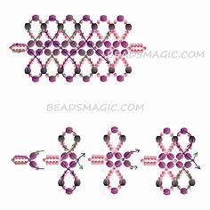 Free pattern for bracelet Harper - 2---------U need Seed beads 11/0, Faceted beads 3 mm (black), Faceted beads 4-6 mm (purple), start with 2 needles.