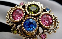 Sarah Coventry Austrian Lights Pink Blue Green Rhinestone Gold Ring Vintage | eBay