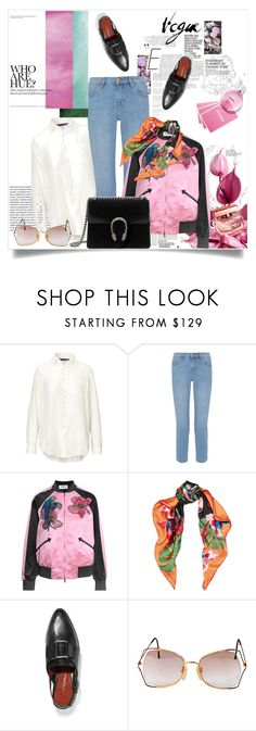 """""""Hint of pink"""" by lidia-solymosi ❤ liked on Polyvore featuring Ralph Lauren, M.i.h Jeans, Valentino, 3.1 Phillip Lim, Vintage Eyewear and Gucci"""