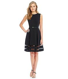 Calvin Klein Lace Detail Fit and Flare Sleeveless Dress #Dillards