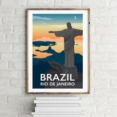 Rio de Janeiro, Brazil Print by Tabitha Mary.   £16.00–£105.00  Rio de Janeiro, Brazil at sunset. Home to the Olympics 2016.  I am inspired by the old railway posters, my prints are now available as digital prints, signed Giclee prints both with an option of framing.
