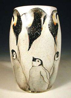 Penguins on stoneware vase - Nan Hamilton